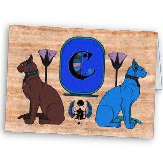 Blue Egyptian Cat Monogram Greeting Card C by petserrano