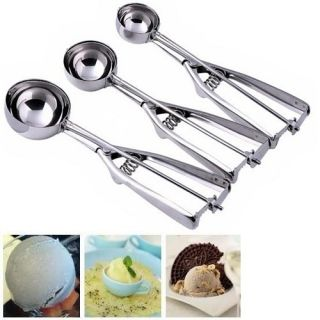 3pcs Stainless Kitchen Ice Cream Scoop Cookies Dough Spoon Potato