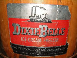 Antique Dixie Belle Wood Hand Crank Ice Cream Maker