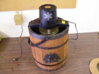 Vintage J E Porter Ice Cream Maker Wood Barrel Working