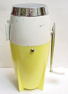 Vintage Dazey Manual Hand Crank Ice Crusher Yellow Chrome