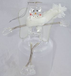 Ice Cube Angel Snowman Ornament White Wings Scarf Halo Spring Arms