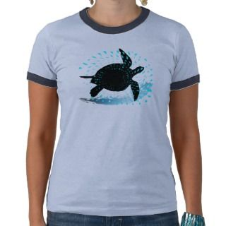 Ladies Ring Neck Sea Turtle by Asher Socrates T shirt