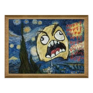 Rage Face Meme Face Comic Classy Painting Print