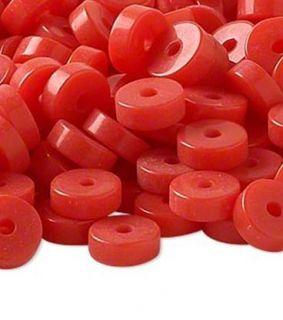 Bright Red Ice Flake Resin 20 Heishi Beads