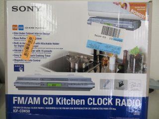 Sony Kitchen Under Cabinet Clock Radio CD iPod Am FM ICF CDK50