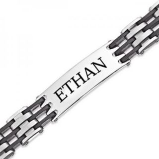 Personalized Mens Stainless Steel Rubber Engraved Name ID Bracelet