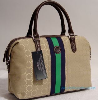 New Tommy Hilfiger TH Khaki Satchel Tote Handbag Hobo Bag Purse