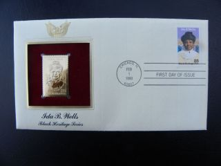 22K Gold Stamp Replicas US Stamps Ida B Wells Black Heritage Series