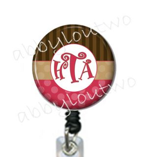 Retractable ID Badge Holder Name Badge Personalized with Initials