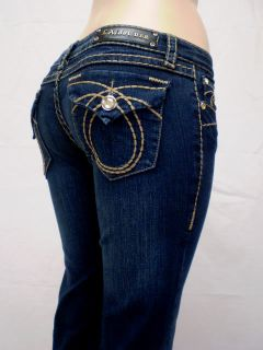 La Idol Jeans Bootcut Brown Stitch Dark Denim 0 15