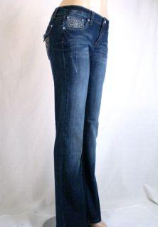 La Idol Jeans Jewel Fleur de Lis Cross Bootcut Sz 1 15