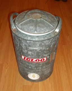 Nice Vintage Igloo 5 Gallon Galvanized Water Cooler Jug Great Shape