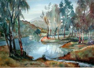 Ignacio Beteta Watercolor River Landscape 1967 Listed Mexican Artist