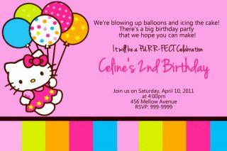 Personalized Hello Kitty Birthday Invitations U Print 24 HR Service