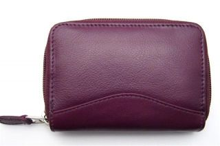ILI LEATHER CREDIT CARD HOLDER CARD ID CASE ~ ONE ZIP INDEXER EGGPLANT