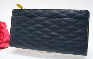Ili Quilted Leather Wallet Navy Yellow Long Wallet