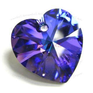Swarovski Xilion Crystal Heart Charm Pendant Heliotrope 14mm 6228