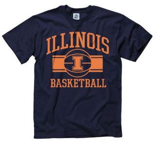 Illinois Fighting Illini Navy Wide Stripe Basketball T Shirt
