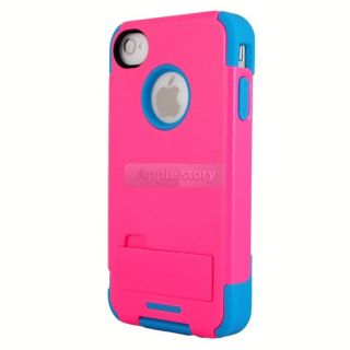 New Pink Blue Rugged Strong Durable Stand Combo Hard Case For iPhone 4