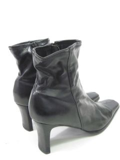 Impo Black Leather Ankle Zip Boots Heels Shoes Sz 7 5