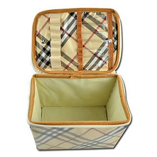 USD $ 6.19   Multi Purpose Plaid Coated Style Cosmetics Box,