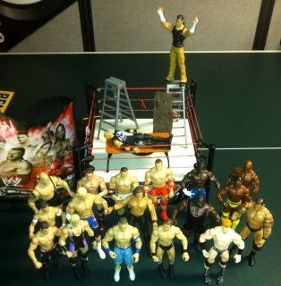 WWE WRESTLING RING 19 FIGURES AND ACCESSORIES LOT TABLE LADDERS CENA