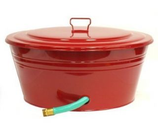 New 23 Inch Steel Garden Hose Pot Red Rustproof Galvanized Steel Free