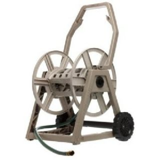 225 Foot Garden Hose Reel Cart Easy Crank Handle 6 Inch Wheels Beige