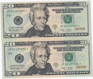 Two Uncirculated 2009 $20 Twenty Dollar Star Note Consecutive Low