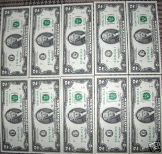 UNCIRCULATED 2003A 2 2 TWO DOLLAR BILLS IN SERIAL ORDER A GREAT GIFT