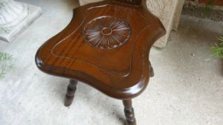 Ornate Vintage English Carved Wood Spinning Wheel Chair Stool