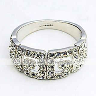 EUR € 7.35   simétrica letra g anillo de cristal, ¡Envío Gratis