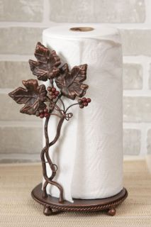French Country Tuscan Paper Towel Holder Free Standing Iron Grape Vine