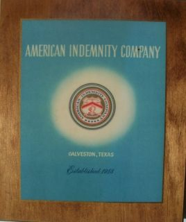 American Indemnity Company Insurance Agent Plaque Vintage Sign