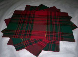 NIP Lintex Christmas Holiday Placemat 4P Set RCTNGL Red Green Gold