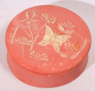 Pink Incolay Stone Trinket Jewelry Box Butterfly Floral Flower Round