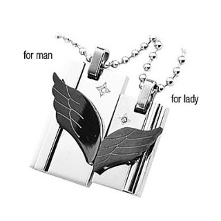 USD $ 6.29   Angel Wings Titanium Steel Couple Necklace,