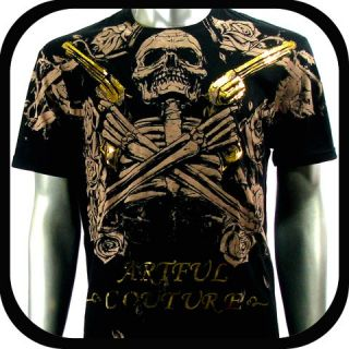 Artful Couture T Shirt Tattoo Indie Rock AB58 Sz L Punk Biker Graffiti