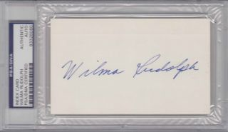 PSA DNA Signed Auto Slabbed Index Card Wilma Rudolph 6060