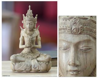 The Lord Indra Hindu Hand Carved Wood Sculpture Statuette Novica Bali