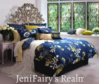 KAS Indra Navy Blue White Green Floral Queen Quilt Cover Set Cush