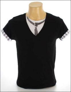 New V Neck Indie Rock Black Men 2in1 T Shirt Necktie Party Size S