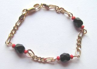 Baby Bracelet with Azabache Coral 4 5 inches 14 KT Gold Overlay