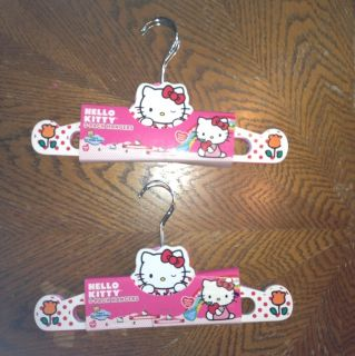 Hello Kitty Kids Baby Infant Clothes Hangers Lot of 6 Wooden Metal