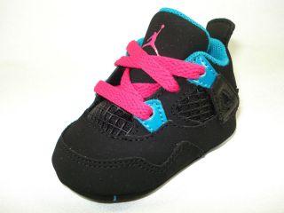 Air Jordan Retro 4 Girls TD Black Pink Blue 487219 019 Infant Gift Set