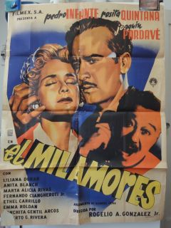 Mexican Movie Poster El Mil Amores Pedro Infante Rosita Quintana 1954