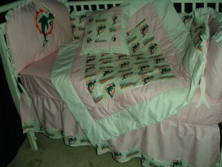 Pink Baby Nursery Crib Bedding Set w Miami Dolphins