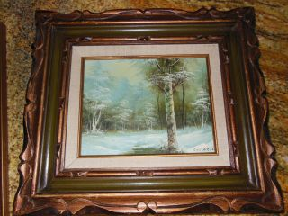 estate oil painting with frame Winter Landscape by Clara Inness signed
