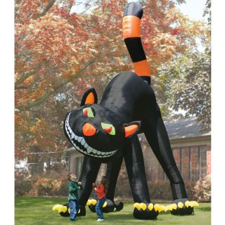 Halloween 2 Stories Tall Inflatable Black Cat Lighted Sways Pump